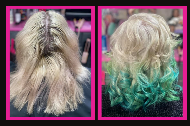 Edgy blue/green curls in blonde hair